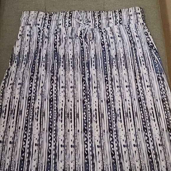 Cato long blue and white skirt